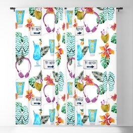 Tropical summer watercolor floral colorful beach pattern Blackout Curtain