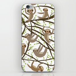 funny and cute smiling Three-toed sloth on green branch tree creeper iPhone Skin