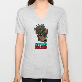 Let's Light this XMAS Deer with lights Unisex V-Neck