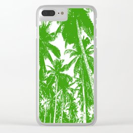Palm Trees Design in Green and White Clear iPhone Case