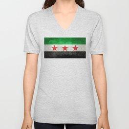 Syrian independence flag, vintage style Unisex V-Neck
