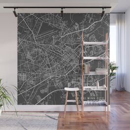 Ho Chi Minh City Map, Vietnam- Gray Wall Mural