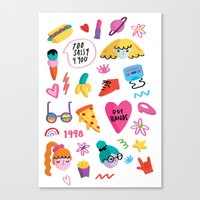 90s Canvas Prints featuring 90s by melissa chaib