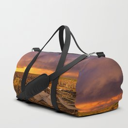 Lost In Time - Broken Windmill and Stormy Sky in Kansas Duffle Bag
