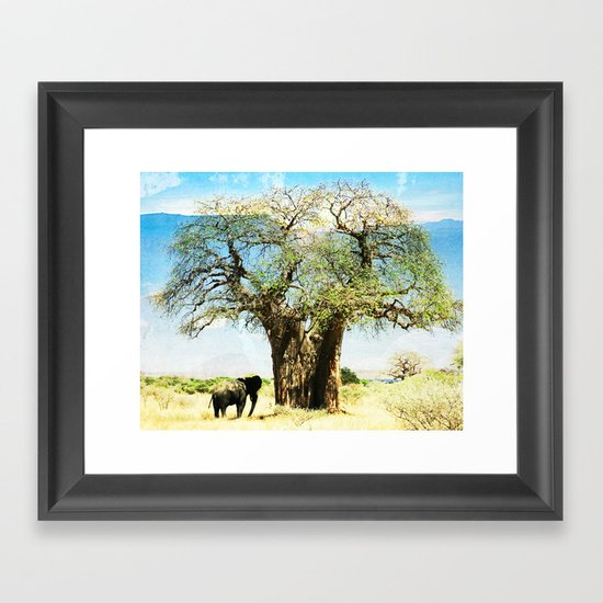 Finding an old friend - elephant in the wild Framed Art Print