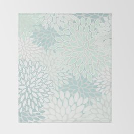 Festive, Floral Prints, Soft Teal, Mint Green and White, Modern Print Art Throw Blanket