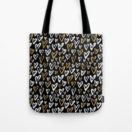 Black White and Gold Hearts Tote Bag