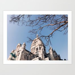 Sacre Coeur under the Tree Branches Art Print