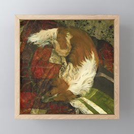 Border Collie Dog Sleeping Impressionist Colourful Oil Painting Red Green and Orange Framed Mini Art Print