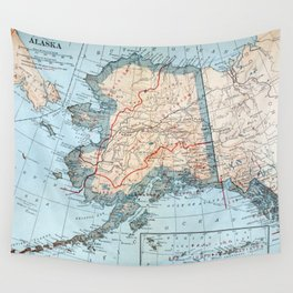 Vintage Map of Alaska (1921) Wall Tapestry