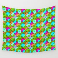 70s Wall Tapestries featuring 70s retro circles,green by MehrFarbeimLeben