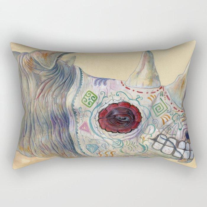 Day of the Dead Rhino Rectangular Pillow