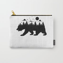 Bear Forest T Shirt Grizzly Silhouette Motif Nature Fusion Carry-All Pouch