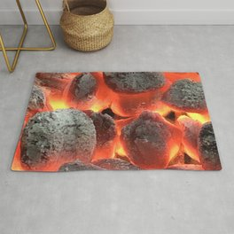 Fiery Red Hot Coals Photography Rug