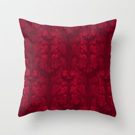 Burgundy Red Classic Acanthus Leaves Pattern Throw Pillow