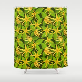 Ylang Ylang Exotic Scented Flowers and Leaves Pattern Shower Curtain
