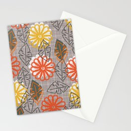 Modern floral grid Stationery Cards