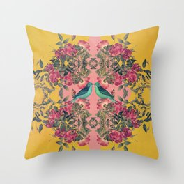 Love Birds II (yellow version) Throw Pillow