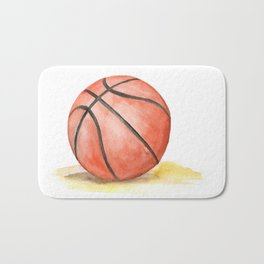 Basketball Watercolor Bath Mat
