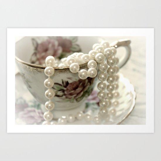 Teacups & Pearls Art Print