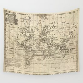 Vintage Map of The World (1747) Wall Tapestry