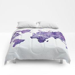 Purple World Map 01 Comforters