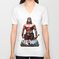 he man V-neck T-shirts featuring He-Man by MartiniWithATwist