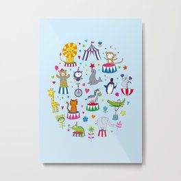 Circus Animal Alphabet - multi on pale blue Metal Print