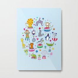 Circus Animal Alphabet - multi on pale blue Metal Print