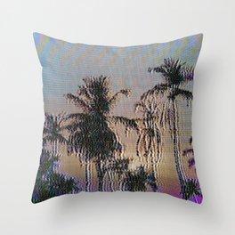 Analogue Glitch Palm Trees Sunset Throw Pillow