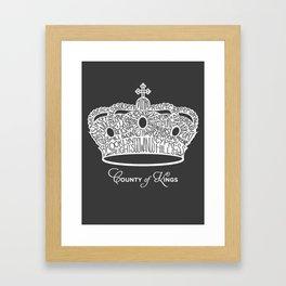 County of Kings | Brooklyn NYC Crown (WHITE) Framed Art Print