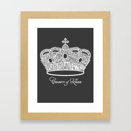 County of Kings | Brooklyn NYC Crown (WHITE) Framed Art Print