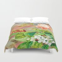 vintage floral Duvet Covers featuring Vintage Floral  by Colorful Art