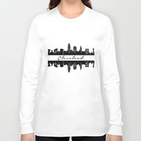 cleveland Long Sleeve T-shirts featuring Cleveland Skyline by Madison Asher