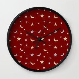 Gold and silver moon and star pattern on red background Wall Clock