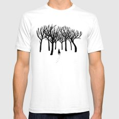 A Tangle of Trees SMALL Mens Fitted Tee White