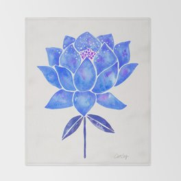 Sacred Lotus – Blue Blossom Throw Blanket