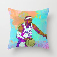 lebron Throw Pillows featuring LeBron James by Maddison Bond