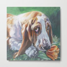 Beautiful Basset Hound dog portrait art an original painting by L.A.Shepard Metal Print