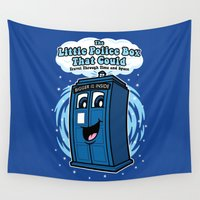 police Wall Tapestries featuring The Little Police Box by Mike Handy Art