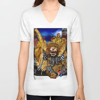 bali V-neck T-shirts featuring Barong Dance of Bali by yadi sudjana