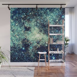 gAlAxY Stars Teal Turquoise Blue Wall Mural