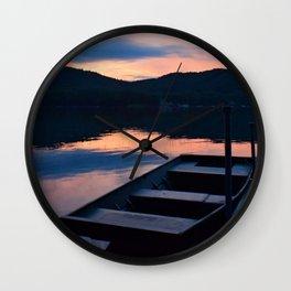 Pretty Adirondack Dawn: Jon Boat and Old Dock Wall Clock