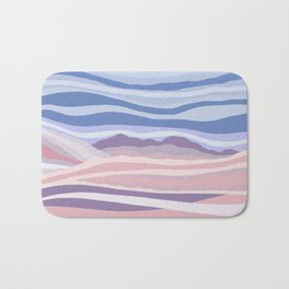 Abstract Pink and Blue Mountain Waves Bath Mat