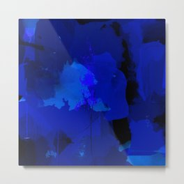 Night blue strokes Dark blue and black abstract painting B01YK Metal Print