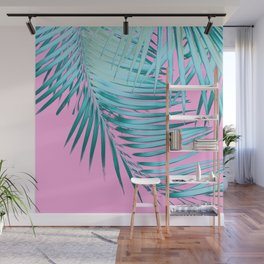 Palm Leaves Pink Blue Vibes #1 #tropical #decor #art #society6 Wall Mural