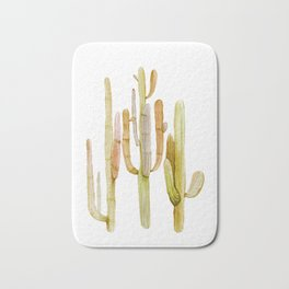 Minimalist Cactus Drawing Watercolor Painting Southwestern Green Cacti Bath Mat