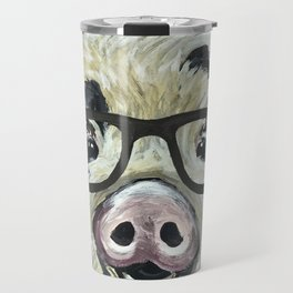 Pig with Glasses, Cute Farm Art Travel Mug