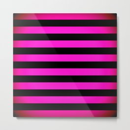 Stripes Pink & Black Metal Print