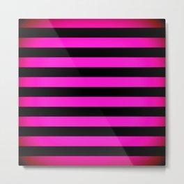Stripes Pink & Black Metal Print